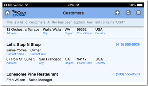Full screen web app created with Code On Time on iPhone 5 with landscape orientation.
