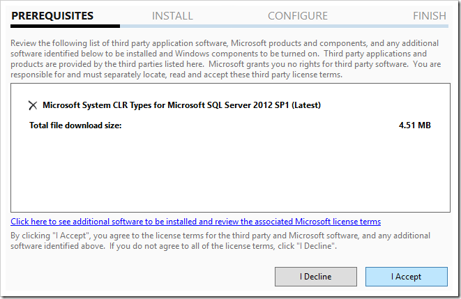 Installing MS System CLR types for SQL Server using Web Platform Installer 5.0.