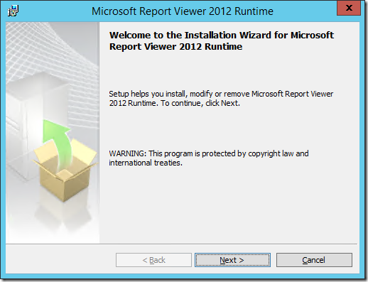 Installing Microsoft Report Viewer 2012 Runtime.