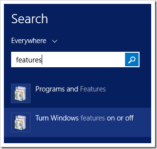 Turning Windows features on in Windows Server 2012 R2.