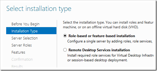 Selecting the installation type.