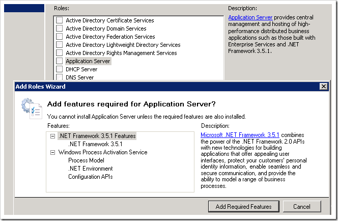 "Adding the ""Application Server"" role."