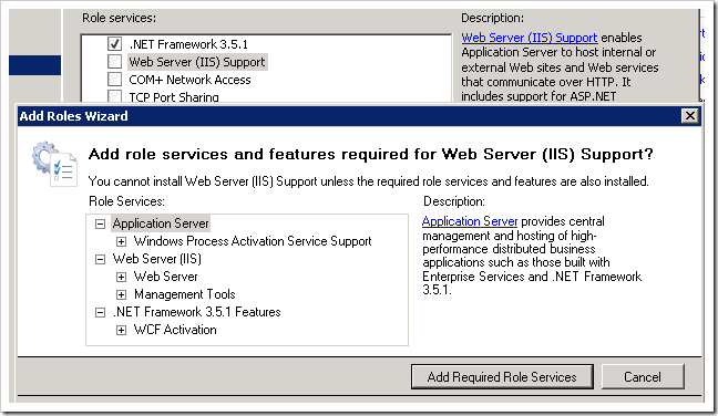Adding Web Server (IIS) Support.