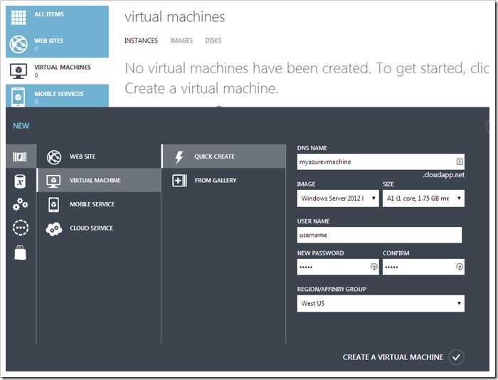 Creating a new WIndows Azure Virtual Machine.