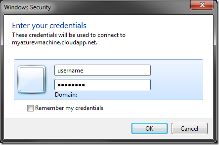 Entering credentials for the remote virtual machine.