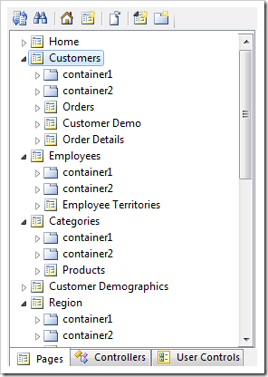 Selecting the Customers page from the Project Explorer.