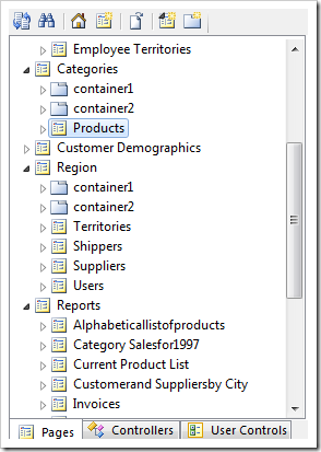 Selecting the Products page from the Project Explorer.
