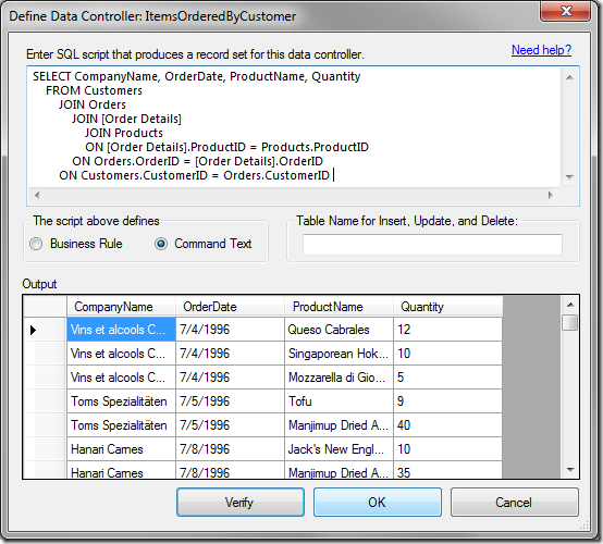 "Verifying the results of the query in the ""Define Data Controller"" window."