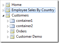The Employee Sales By Country page has been placed after Home page node.