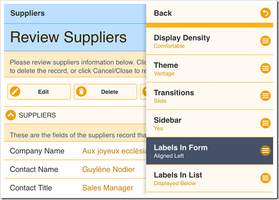 "Activating the ""Labels in Form"" option of the Settings panel"