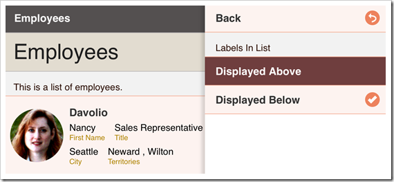 "Selecting ""Displayed Above"" for Labels in List option."