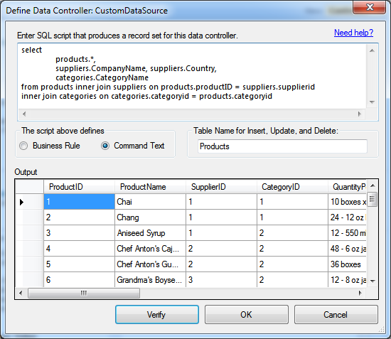 Configuring a data controller based on arbitrary SELECT statement in Code On Time app generator.