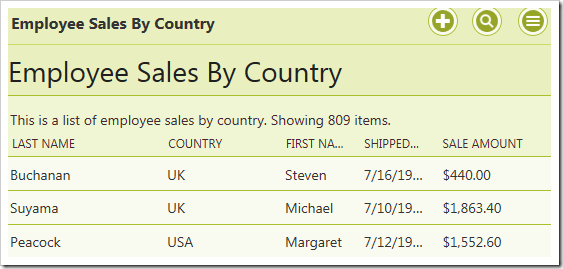 Employee Sales by Country stored procedure results filtered by a business rule property.