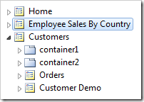 Employee Sales By Country page placed after the Home page node in the site menu.