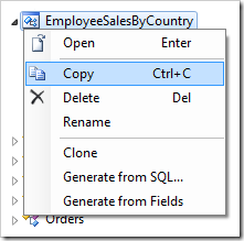 Copying the 'EmployeeSalesByCountry' controller.
