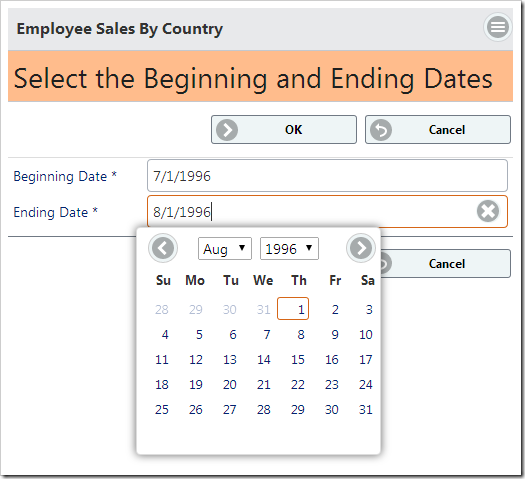 The confirmation controller form allows the user to select a beginning and ending date to pass to the stored procedure.
