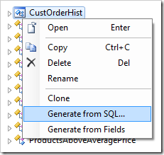 Generating the new controller from SQL.