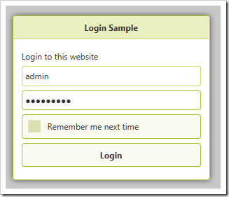 Default login modal form.