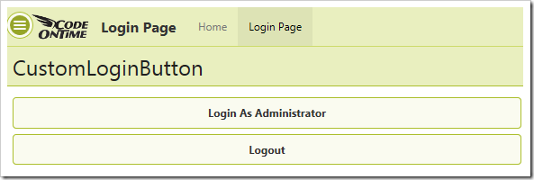 Login and Logout custom buttons are present on the page.