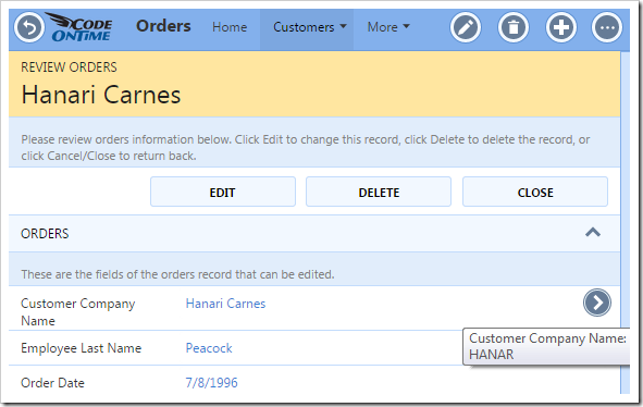 The Orders page showing the lookup details arrow next to the Customer Company Name field.
