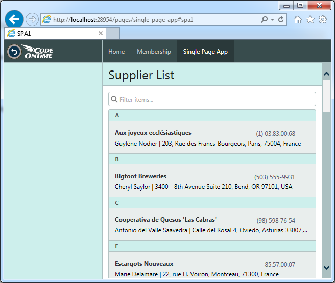 Listview widget of jQuery Mobile displays a list of suppliers in SPA app created with Code On Time.