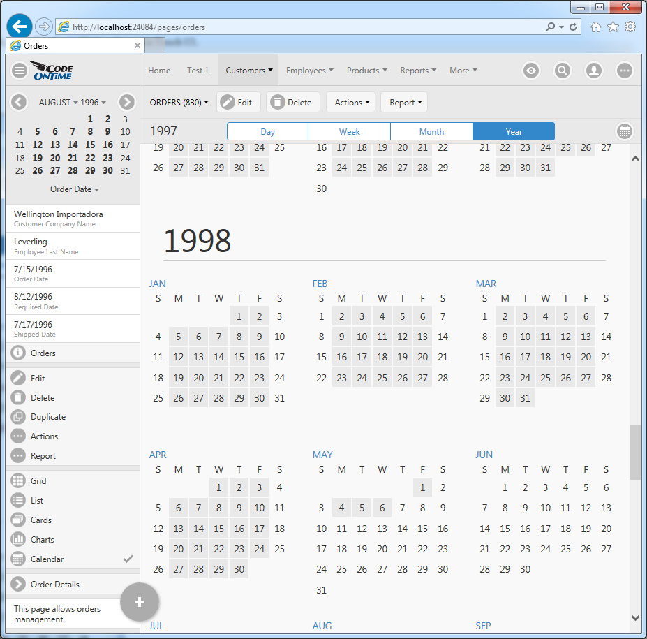 Year mode of Calendar view style in Touch UI