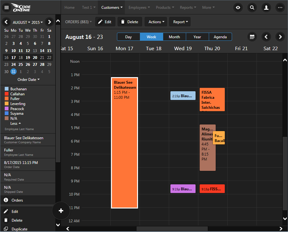'Week' mode in calendar view of an app created with Code On Time.