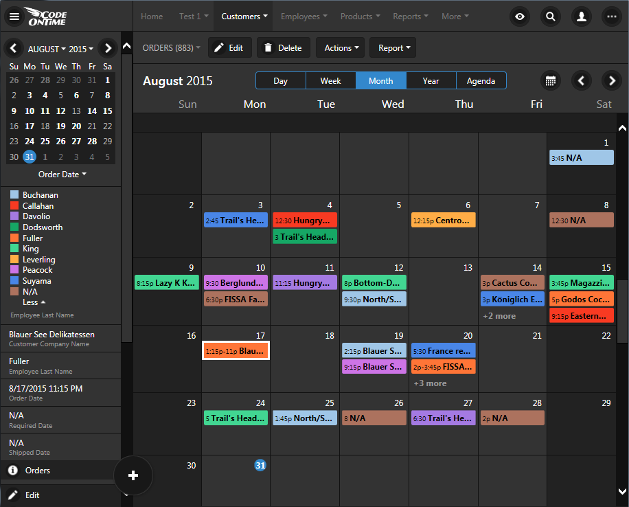 'Month' mode in calendar view of an app created with Code On Time.