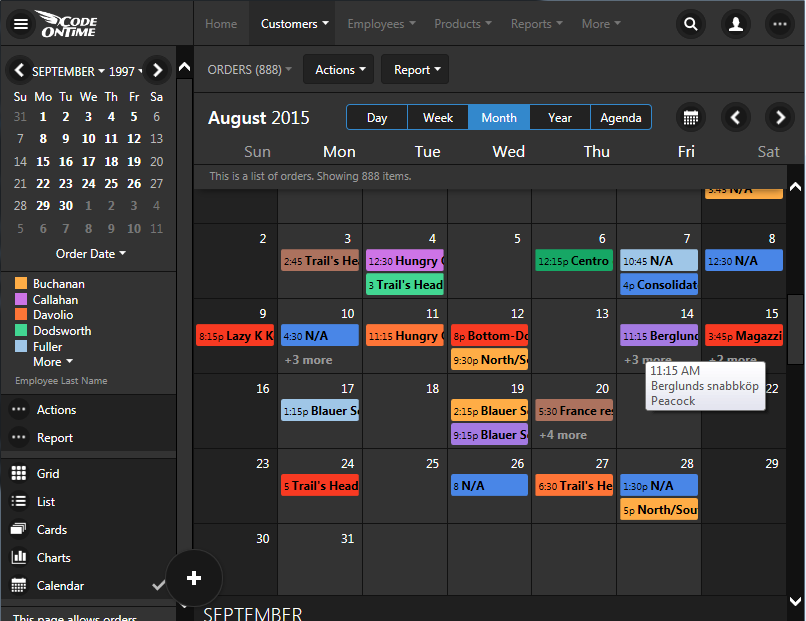 Electronic alternative to 'wall' calendar is the Month mode of Calendar view style in apps created with Code On Time.