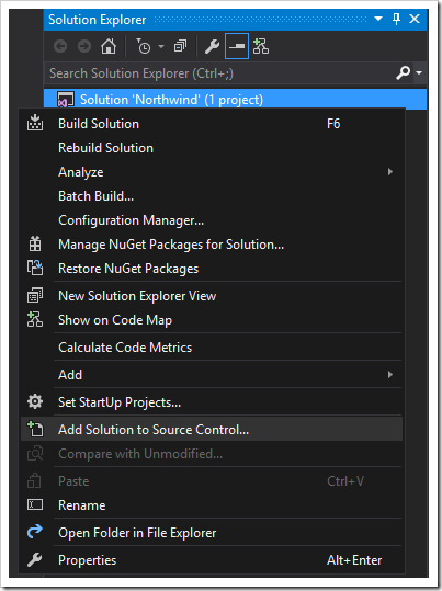 Adding the solution to source control using Visual Studio.