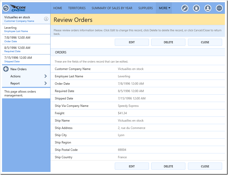The default template for Orders editForm1 view.