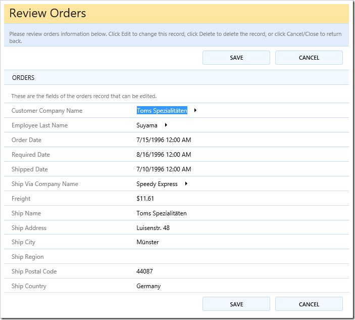 The default Orders editForm1 template in edit mode.