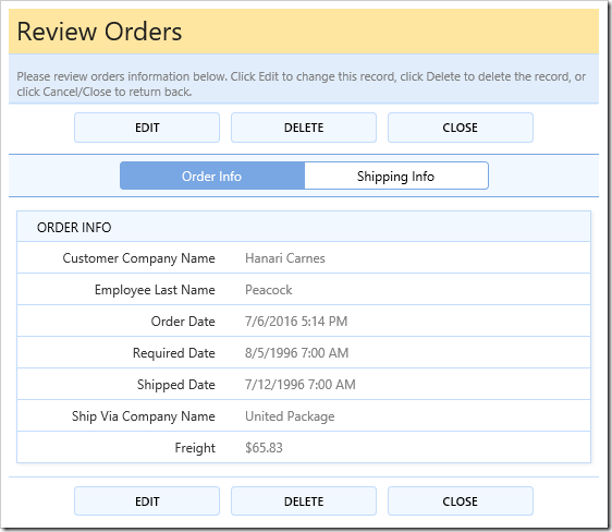 Two tabs rendered in editForm1 view of Orders page.