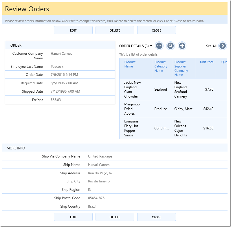 Orders editForm1 view with a custom template that positions a list of order details on the right side.