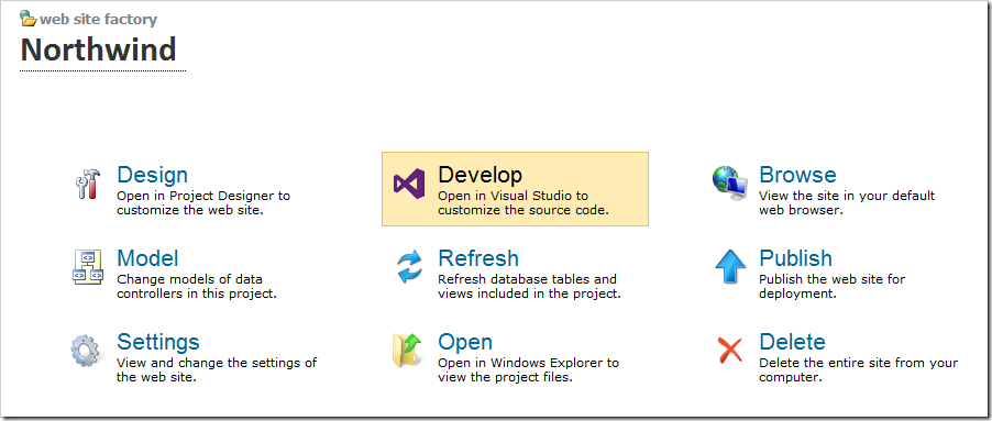 Opening Northwind project in Visual Studio.