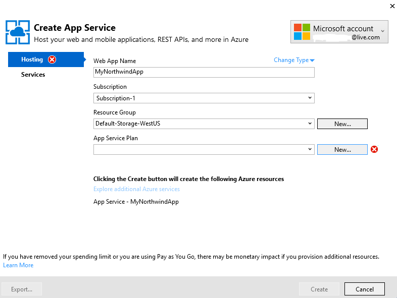 how to create a web service in azure