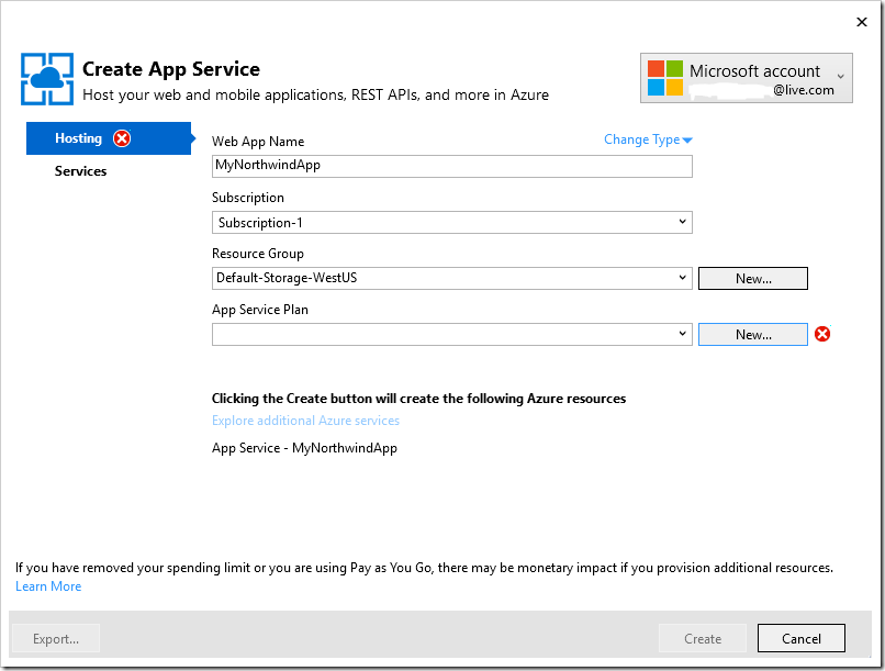 Specifying a web app name and app service plan for the azure deployment.