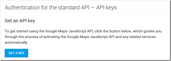 The button to acquire a Google Maps API key.