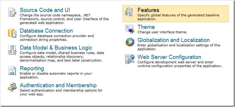 Navigating To The Features Page Of Project Wizard