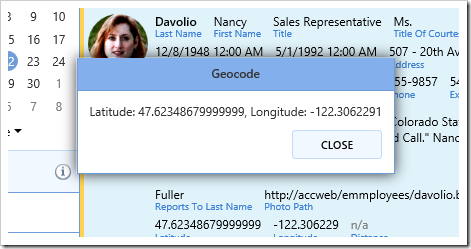 Example of result from Geocode method.