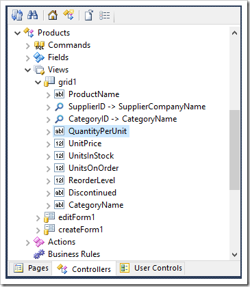 Editing the QuantityPerUnit data field of grid1 View of Products controller.