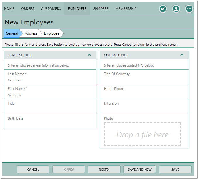 The correct position of Employees data views for the Create Employee Wizard.