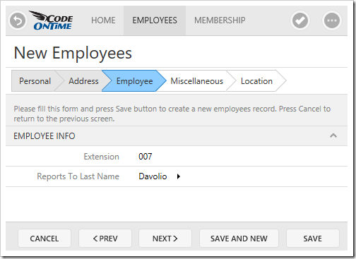 New Employees form configured as a Wizard in Touch UI.
