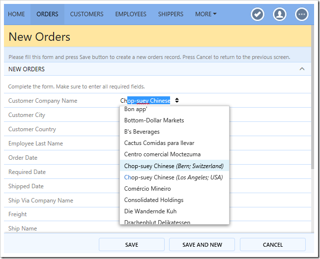 Duplicate customers will show the city and country of the customer in the drop down list.