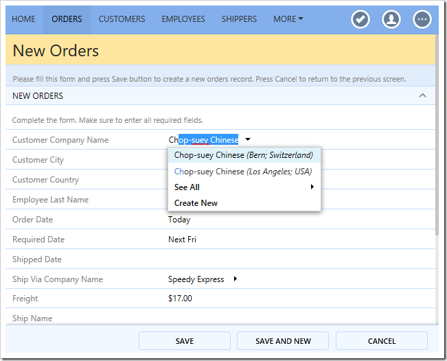 Duplicate customers will show the city and country of the customer in the lookup results.