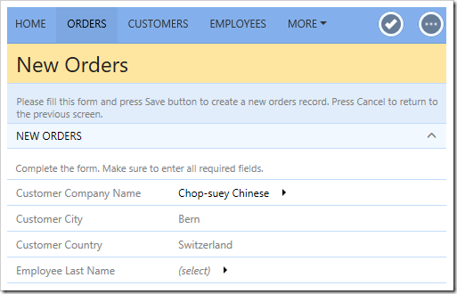 Selecting a customer in New Orders form will copy the City and Country values.