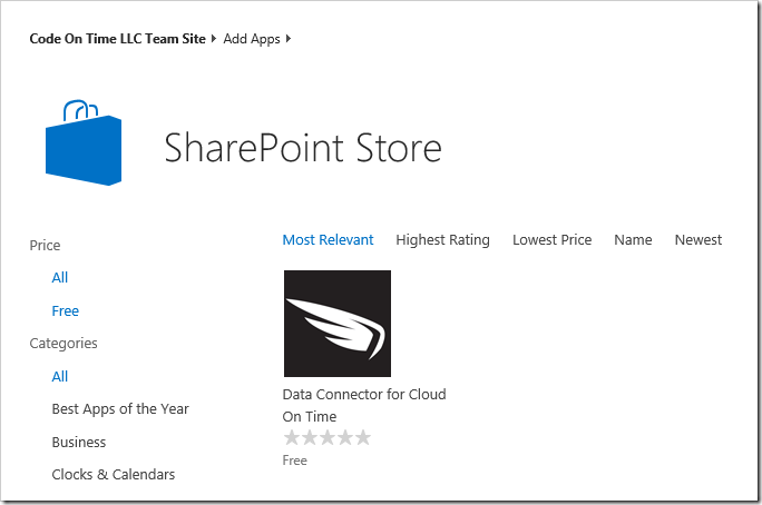 Finding the Data Connector for Cloud On Time app in the SharePoint Store.