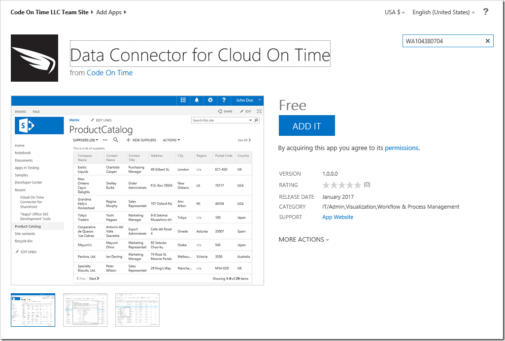 Adding the Data Connector for Cloud On Time app in the SharePoint Store.