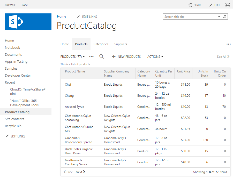 App created with Code On Time is integrated in SharePoint Online.