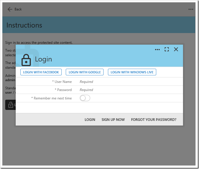 Modal login form with three external login options.